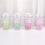 450ML韩版水果滑盖冰杯夏日冰酷杯学生吸管塑料杯子