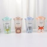 450ML卡通森林动物滑盖冰杯夏日冰酷杯塑料吸管杯