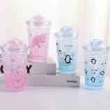 450ML韩版企鹅猪猪滑盖冰杯小清新夏日冰酷杯果汁杯
