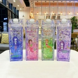 550ML韩版卡通方形小美人鱼牛奶冰杯夏日清新冰酷杯