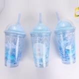 450ML创意蓝色海洋双层盖冰杯吸管杯学生个性随手杯子