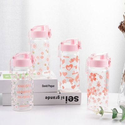 320ML韩版樱花弹盖玻璃杯学生小清新单层透明喝水杯子