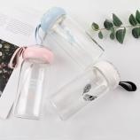 350ML韩版文艺彩钻单层玻璃杯学生便携手提杯子