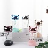 280ML卡通可爱丹尼熊玻璃杯单层透明便携提手杯子