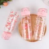 480ML韩版樱花弹盖玻璃杯学生小清新单层透明喝水杯子
