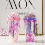 480ML韩版七彩樱花闪片双层冰杯夏日冰酷杯果汁杯