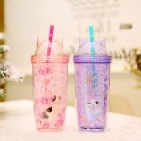 400ML卡通樱花猫咪双层盖冰杯学生情侣小清新吸管杯