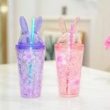 480ML韩版樱花兔透明冰杯学生小清新夏日吸管果汁杯