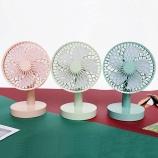 简约圆形摇头风扇usb充电手持桌面静音电风扇