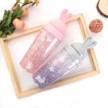 450ML韩版可爱兔儿樱花滑盖冰杯夏日吸管果汁杯饮料杯