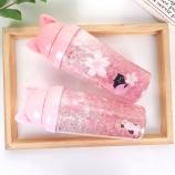 450ML卡通猫儿樱花凝胶系列冰杯夏日吸管冰酷杯果汁杯