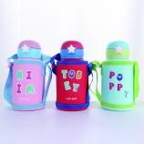 500ML卡通316不锈钢星星儿童保温壶带布套吸管保温杯