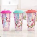450ML卡通鸟平盖冰杯夏日水杯 塑料双层保冷杯