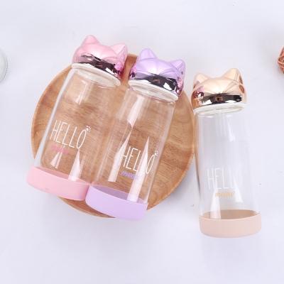 380ML可爱酷猫(英文)玻璃杯单层透明喝水杯子