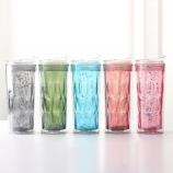 500ML闪亮时尚杯钻石菱形杯学生情侣便携吸管塑料水杯