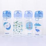 320ML韩版海洋弹盖玻璃杯学生小清新单层透明喝水杯子