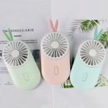 新款卡通兔子USB充电带灯风扇迷你手持口袋小风扇