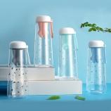 550ML樱花猫塑料杯带猫爪硅胶茶漏大容量水杯