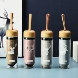 360ML北欧麋鹿布套玻璃杯木纹盖学生便携手提水杯子