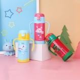 300ML韩版儿童乐园保温杯带吸管双手柄弹盖杯子