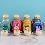 600ML浅色系背包儿童保温杯316不锈钢弹盖吸管水壶