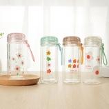 280ML美雅时尚双层玻璃杯高硼硅单层带提绳便携杯子