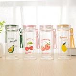 280ML欧彩水果双层玻璃杯学生韩版小清新防烫随手杯