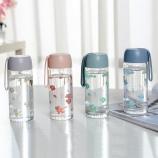 300ML花朵时尚感温玻璃杯学生情侣小清新可爱杯子