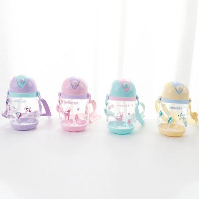 310ML亿本贝乐儿童水壶吸管塑料杯便携背带水杯子
