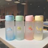 400ML韩版水果家族感温磨砂玻璃杯简约小清新杯子