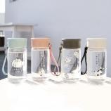 310ML卡通日语小猫咪玻璃杯便携硅胶提绳户外随手杯
