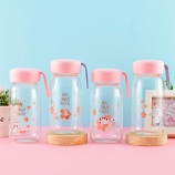 350ML卡通可爱樱花猫单层美客玻璃杯手提便携随手杯子