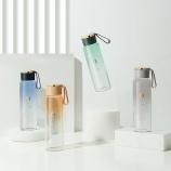 400ML创意渐变高硼玻璃杯手提绳水杯男女生便携杯子