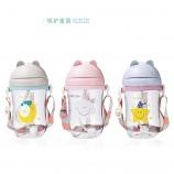 300ML萌猫手柄背带两用儿童杯便携卡通吸管杯