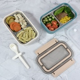 800ml卡里不锈钢饭盒学生便携式爱心便当盒