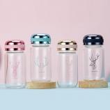 280ML炫彩鹿玻璃杯男女学生小巧迷你型可爱水杯便携带杯子