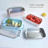 1700ml提绳双层不锈钢饭盒保温透明盖饭盒便携手提便当盒