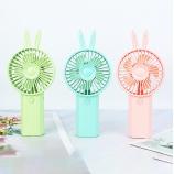 纯色兔子手持风扇卡通可爱户外活动便携带充电迷你小风扇