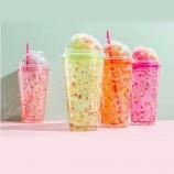 430ml水果冰淇淋吸管冰杯创意韩版个性潮流水杯
