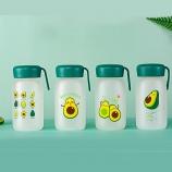 360ML卡通可爱牛油果系列磨砂手提玻璃杯学生便携水杯