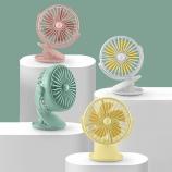 花网旋转带灯小夹扇360°旋转小风扇便携带小风扇个性潮流