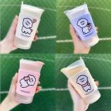 400ml小羊驼咖啡玻璃杯卡通可爱磨砂吸管杯学生水杯