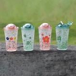 450ml泫雅花朵弹盖吸管杯夏日冰酷杯学生吸管果汁冰杯