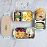 600ml木纹不锈钢饭盒分格式学生餐盒上班族便携饭盒