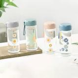 300ml小雏菊玻璃杯水杯女学生可爱便携ins风少杯子心简约清新水杯