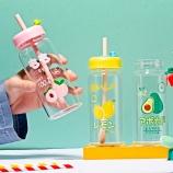 380ml水果玻璃吸管杯单层可爱学生水杯带盖果汁杯子