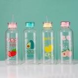 700ML时尚水果吸管玻璃杯(双盖)学生情侣水杯