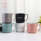 350ML创意简约8号咖啡杯带盖手柄不锈钢保温杯