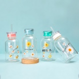 450ml小雏菊吸管玻璃杯时尚简约水杯学生情侣两盖杯子