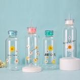 700ml小雏菊吸管玻璃杯时尚简约水杯学生情侣两盖杯子